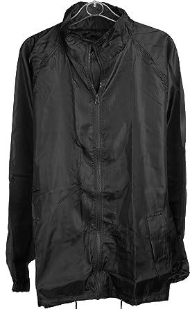 Mens Black Pack Away Rain Mac Full Zip Jacket Size Small 36-38 Chest 03657c56b6