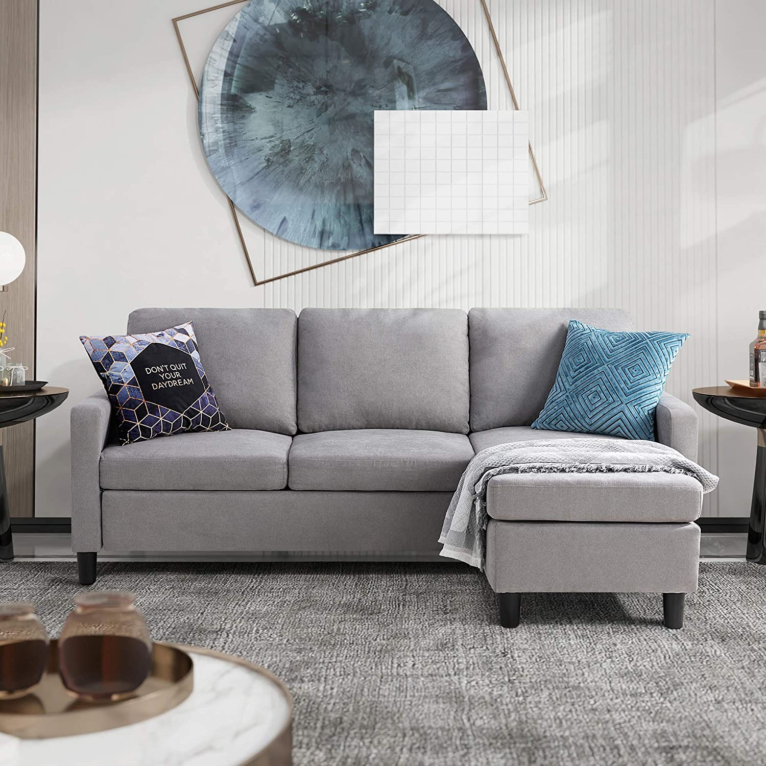 Walsunny Convertible Sectional Sofa for Small Space L-Shaped Couch with Modern Linen Fabric (Light Grey)