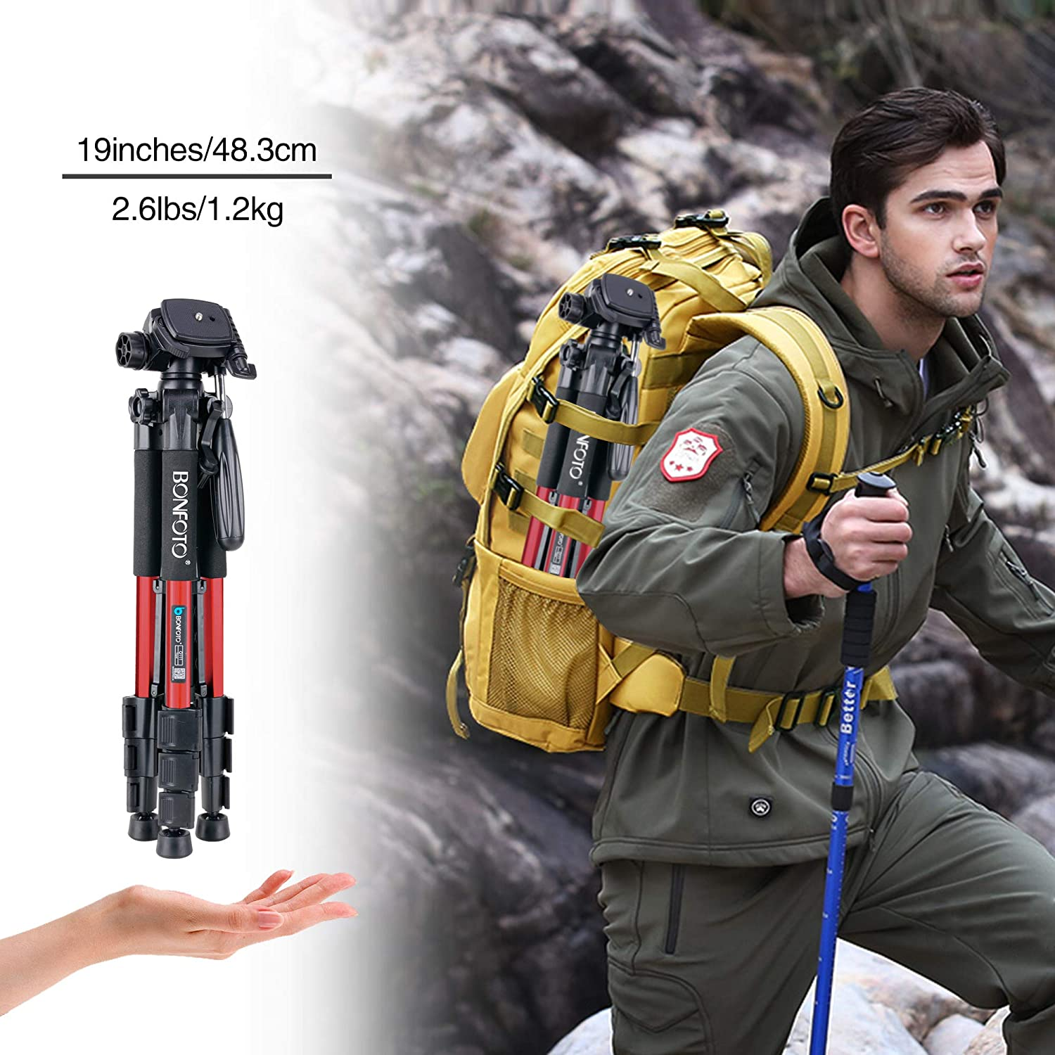 BONFOTO Q111 Camera and Phone Tripod Protable Light Weight Video Selfie for Canon Nikon Sony DSLR Projector Gopro and Smartphones Live Black