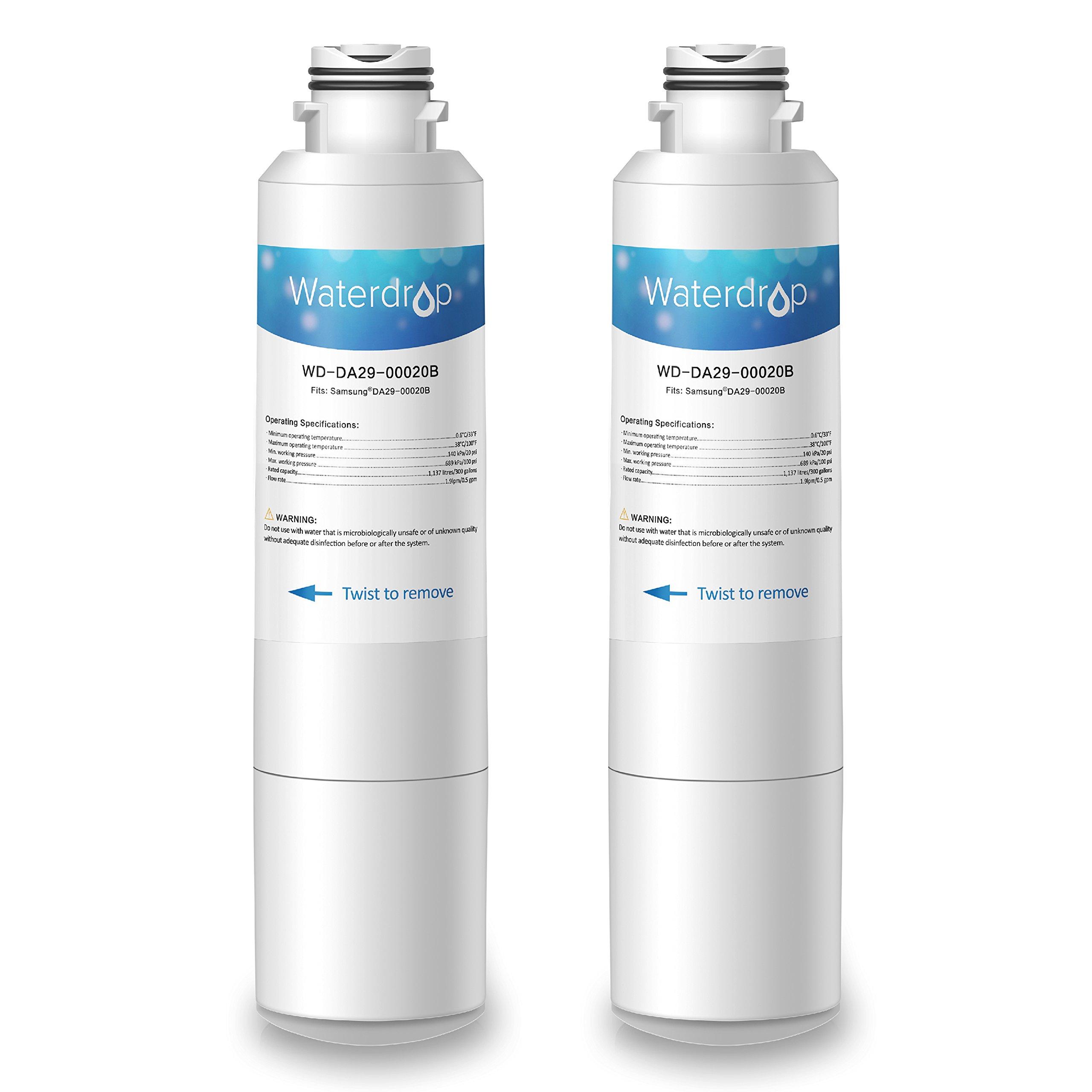Waterdrop DA29-00020B Refrigerator Water Filter Replacement for Samsung DA29-00020B, DA29-00020A, HAF-CIN/EXP, 46-9101, Standard Series, 2 Pack