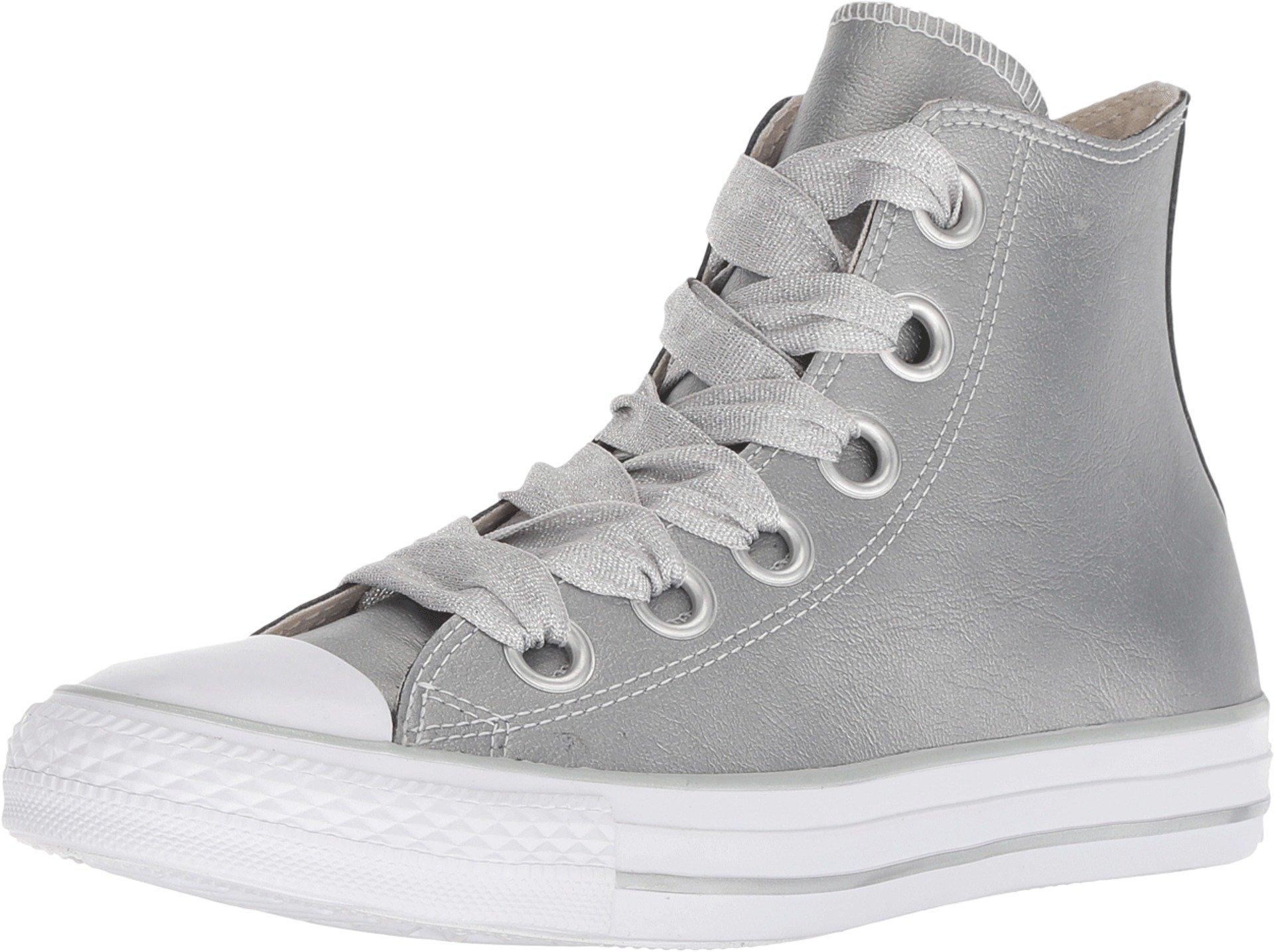 Converse Womens Chuck Taylor All Star Big Eyelets-Ox Low-Top Metallic Silver Sneaker - 6