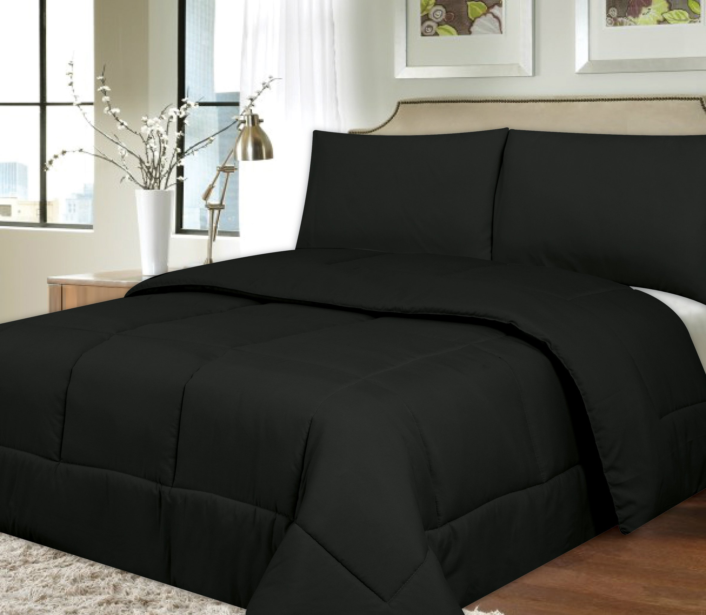 Sweet Home Collection Down Alternative Polyester Comforter Box Stitch Microfiber Bedding - Full, Black