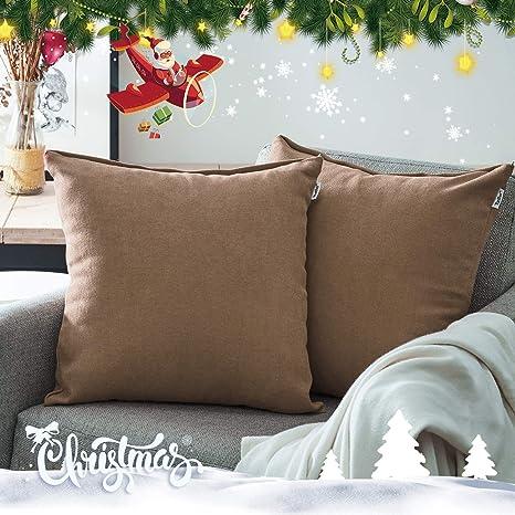 Topfinel juego 2 Fundas cojines sofas de Algodón Lino duradero Almohadas Decorativa de color sólido Para Sala de Estar, sofás, camas, sillas 40x40cm ...