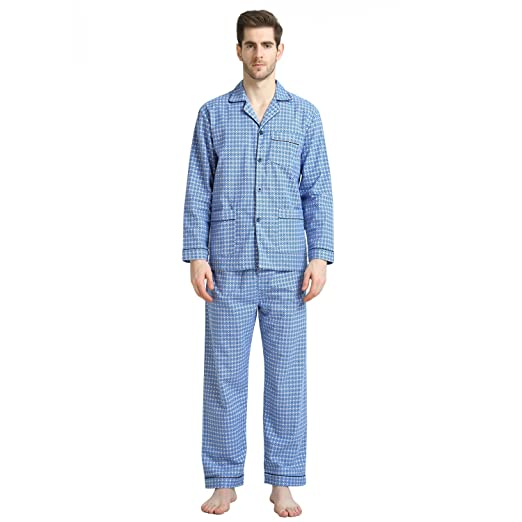 GLOBAL Cotton Sleepwear for Men, Long Sleeve Drawstring Fleece Pjs Set
