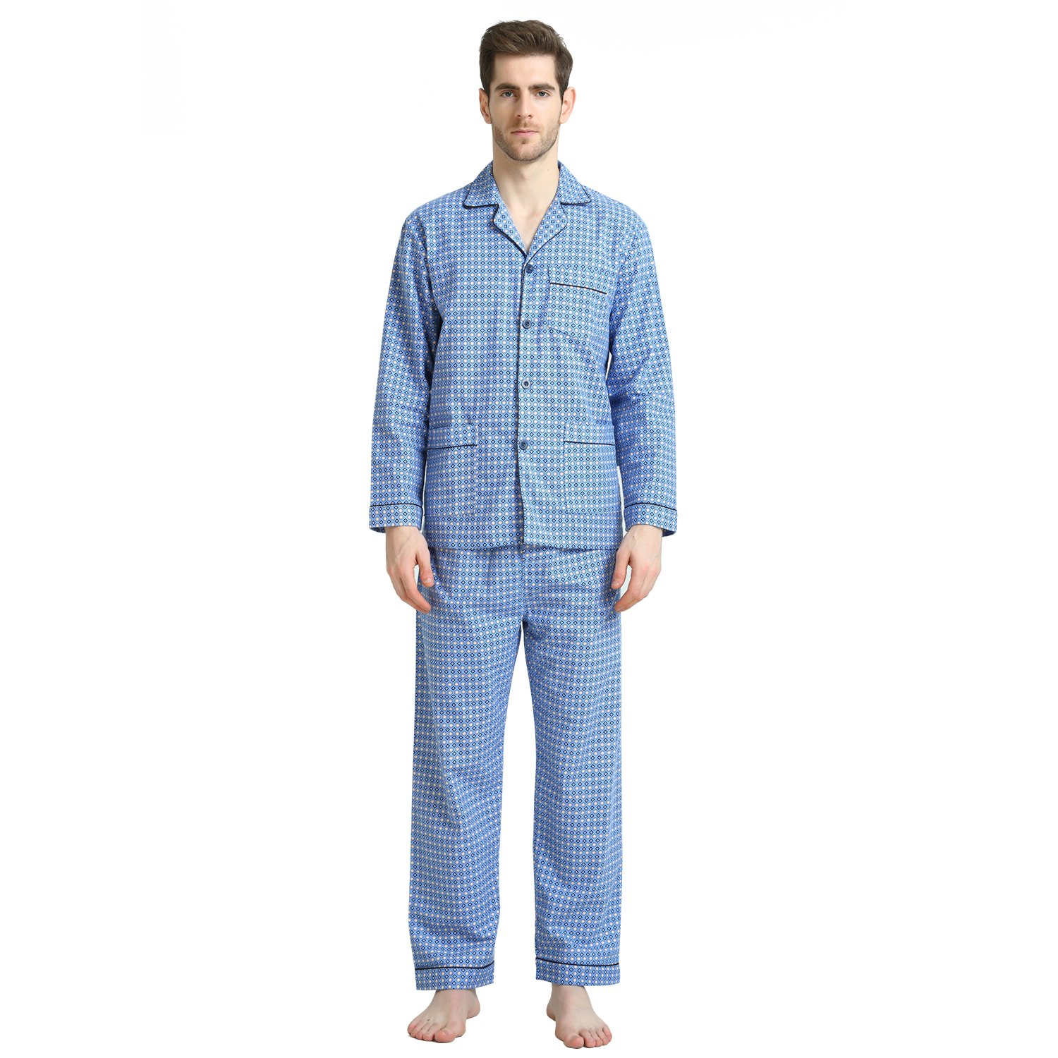 Cotton Sleepwear/Loungewear Sets for Men,100% Fleece Warm Pj Top and Bottom by GLOBAL (Image #1)