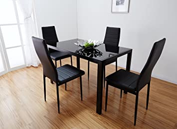Black Glass Dining Table Set With 4 Faux Leather Chairs Brand New