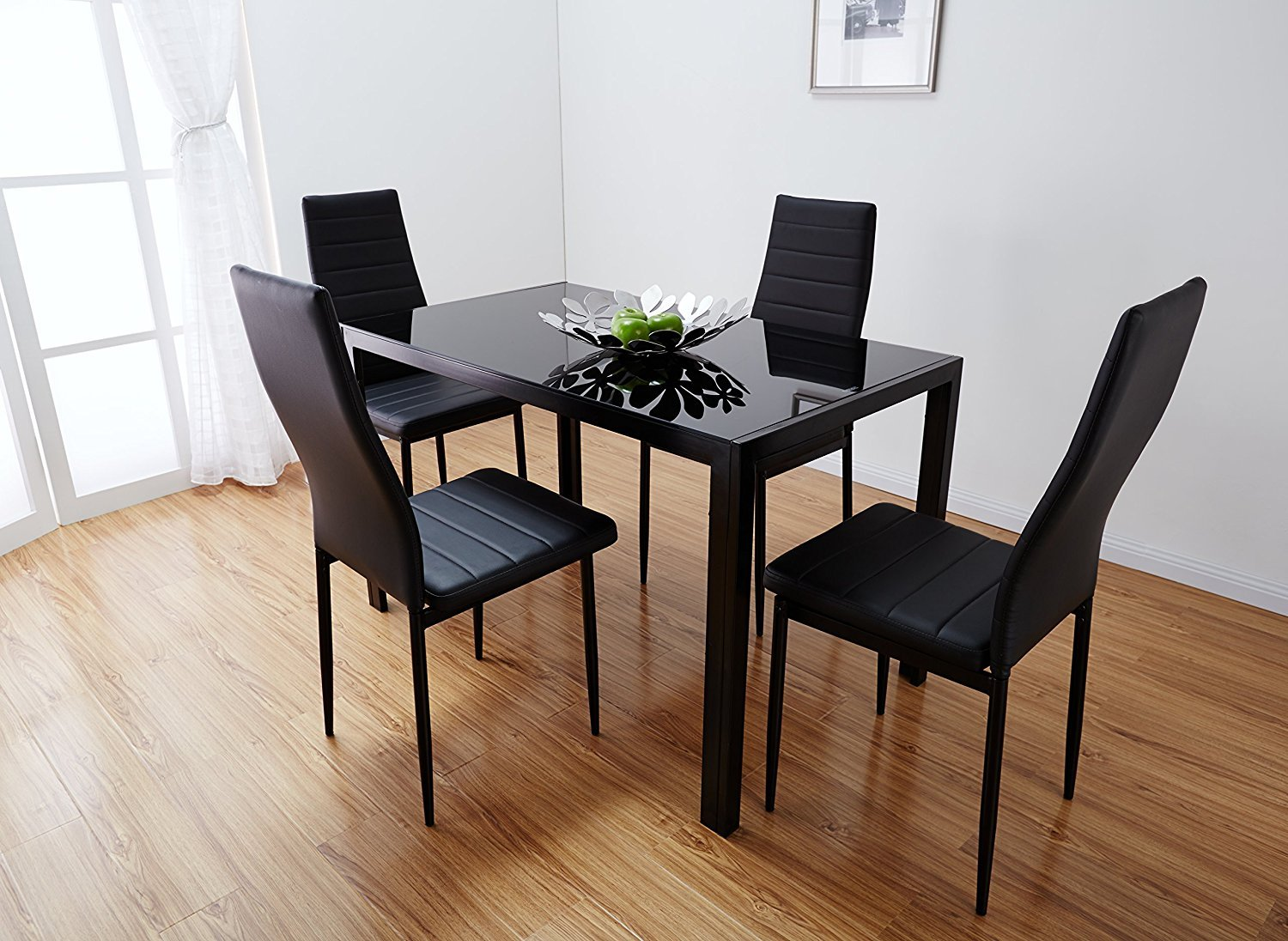 3c92c5de71e24 5 Pcs Modern Dining Table Set Glass Top and 4 Leather Chair Home Furniture  Black