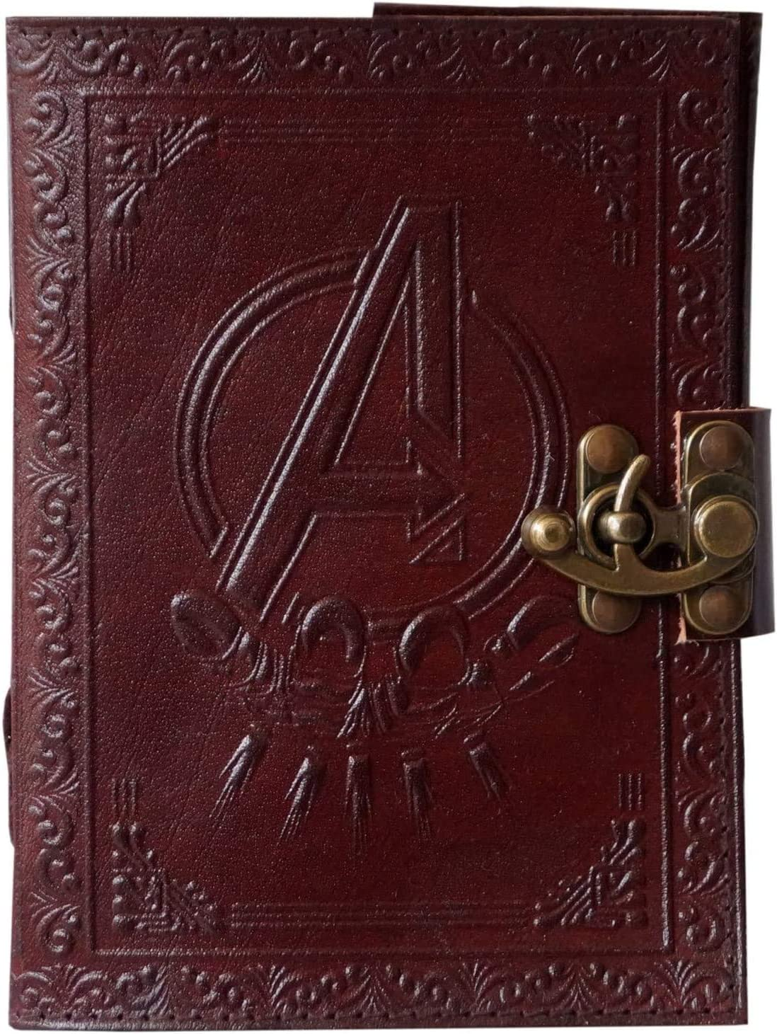 amazon com handmade leather journal avengers marvel logo embossed personal organizer daily notepad travel writing notebook sketchbook office diary college book unlined paper 7 x 5 inches brown office products handmade leather journal avengers marvel logo embossed personal organizer daily notepad travel writing notebook sketchbook office diary college book