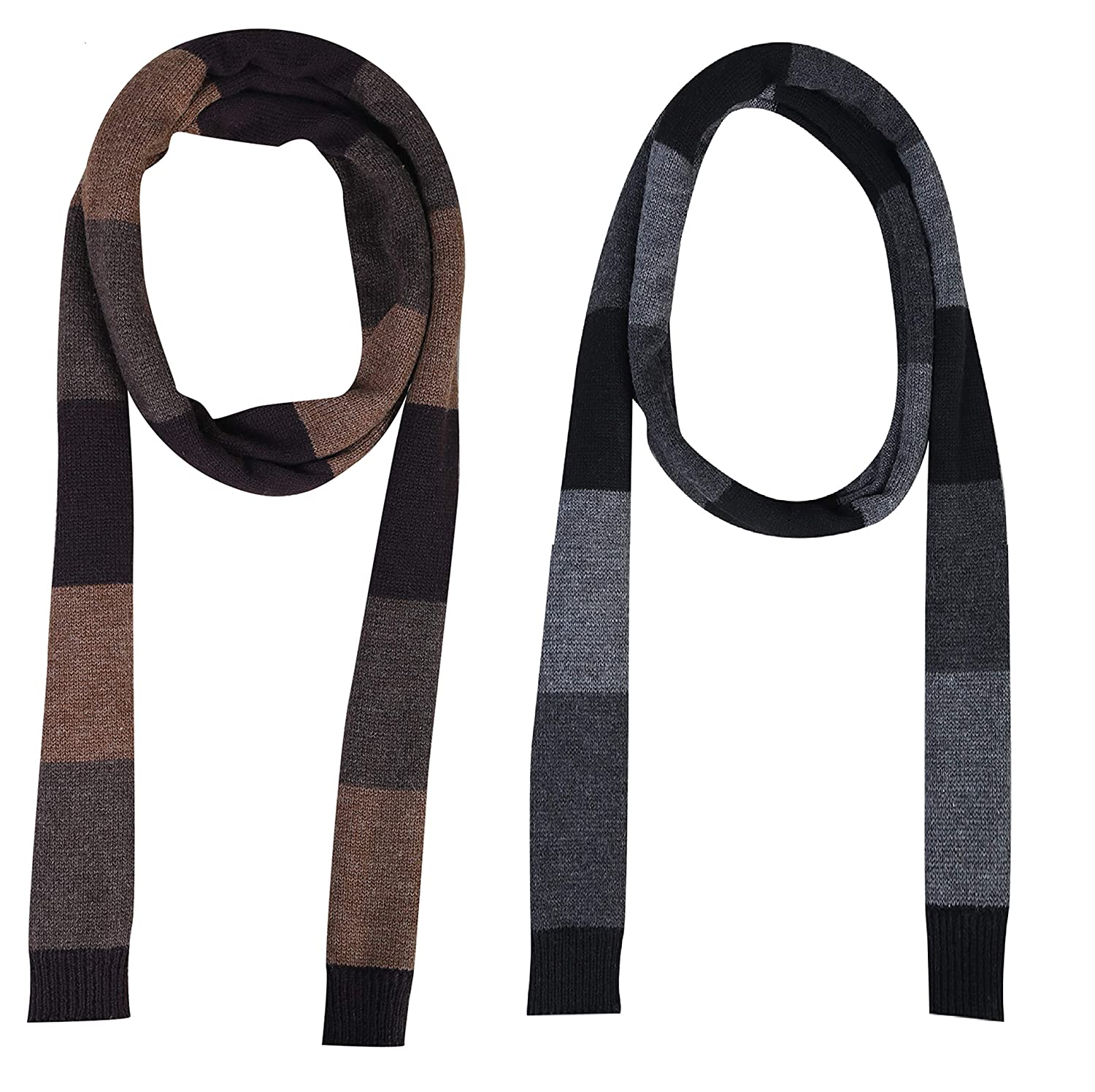 Zacharias Men's Woollen Striped Muffler (Multicolor) - Pack of 2