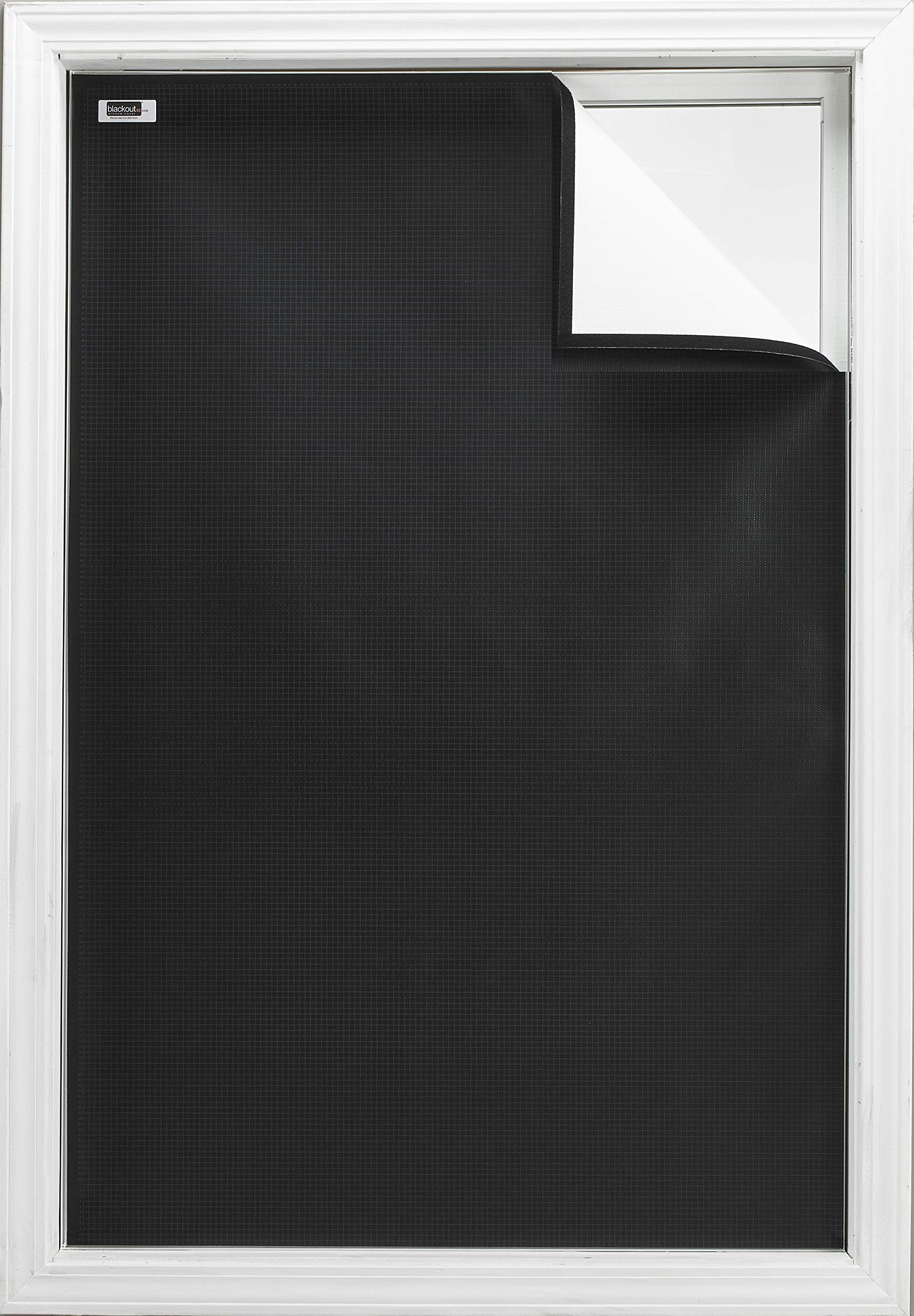 Blackout EZ - Total Sunlight Blocking Window Cover - Complete Light Block For: Living Room, Nursery, Home Theatre, TV Room, LARGE - Customizable To (45'' x 66'') Black In/White Out - Made in USA by Blackout EZ (Image #1)