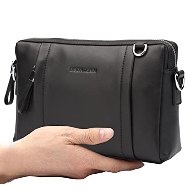 58cf389b7b09 BISON DENIM Mens Multipurpose Long Style Genuine Leather Clutch Bag Purse  Fashion Wallet Handbag Shoulder Bags