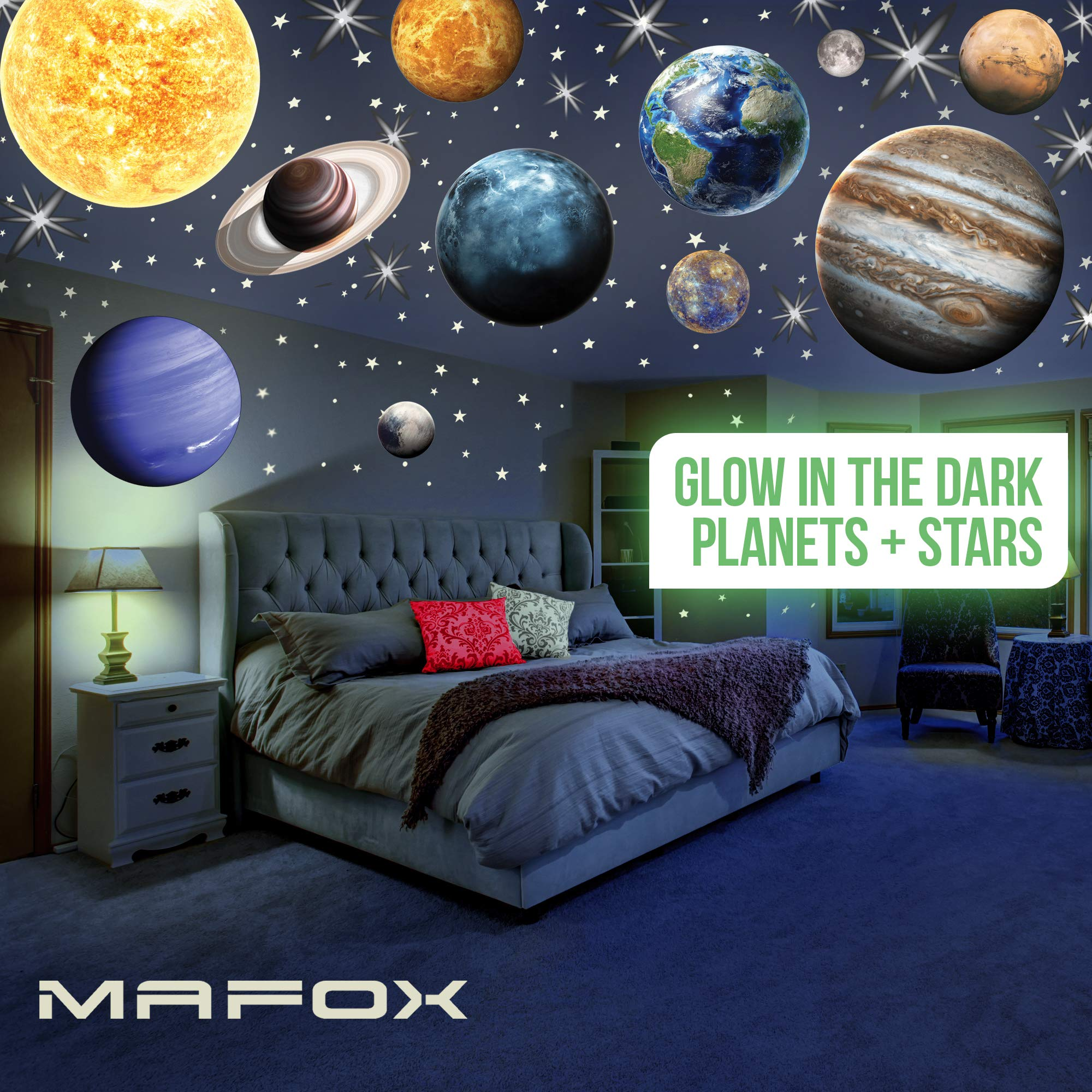 MAFOX Glow in The Dark Planets, Bright Solar System Wall Stickers -Sun Earth Mars and so on,9 Glowing Ceiling Decals for Bedroom Living Room,Shining Space Decoration for Kids for Girls and Boys by MAFOX