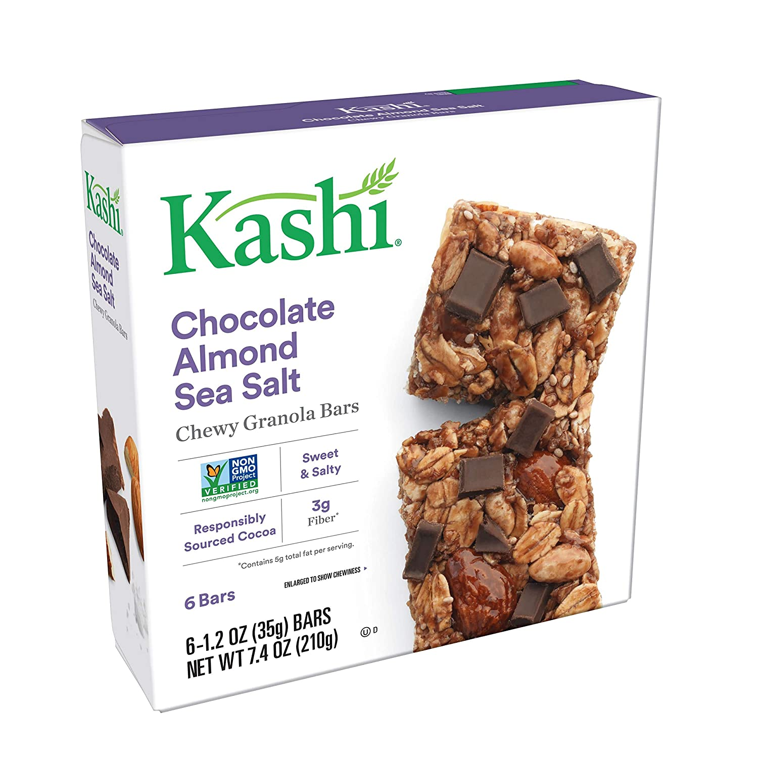 Kashi Chewy Granola Bars, Chocolate Almond and Sea Salt with Chia, 7 4  Ounce (Pack of 12)