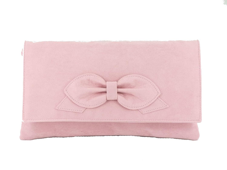 94c82eb55a LONI Gorgeous Faux Suede Clutch Shoulder Bow Bag