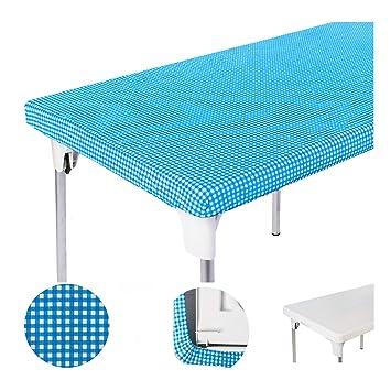 amazon com toptablecloth picnic table cover blue checkered elastic rh amazon com elastic table covers oblong elastic table covers bed bath and beyond