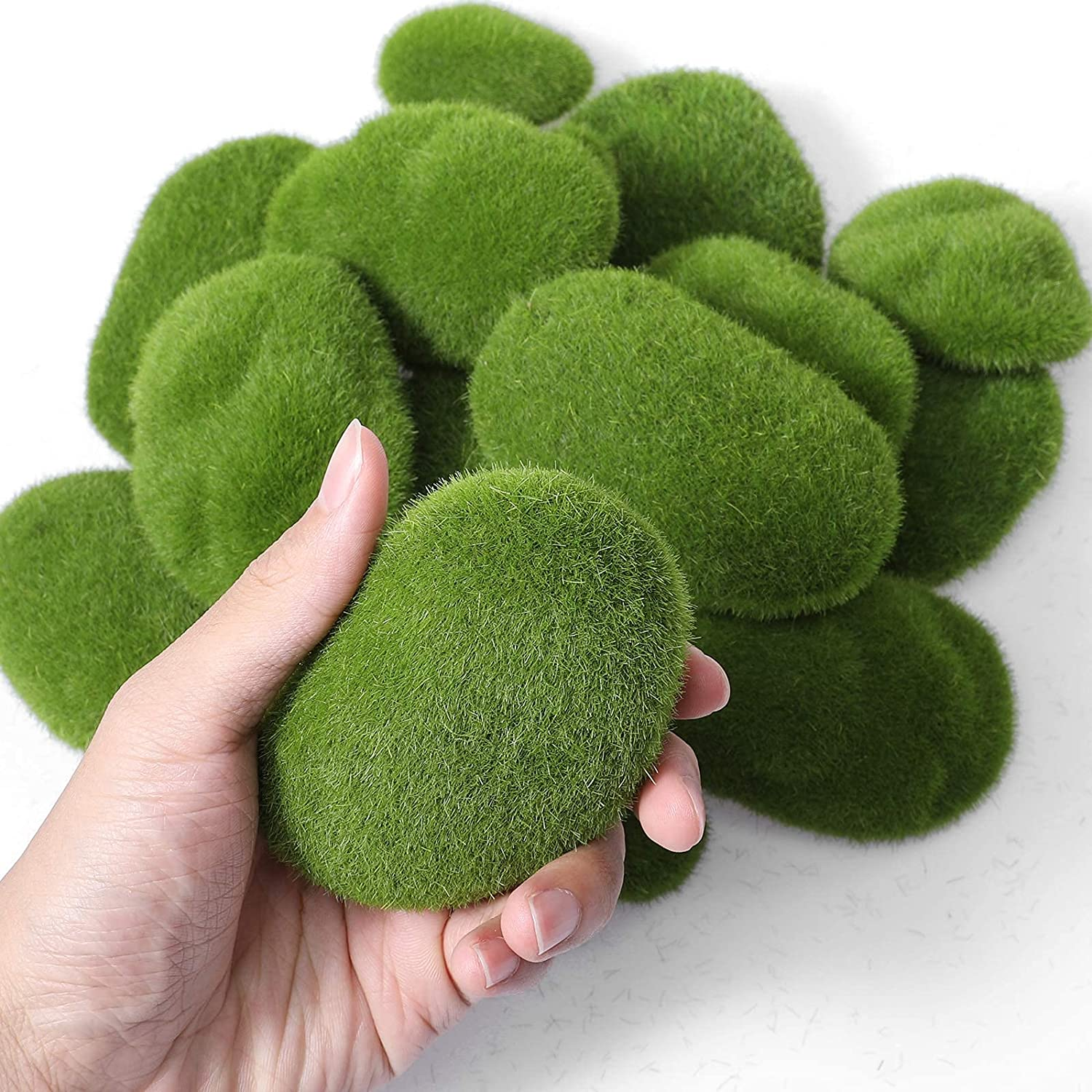 iClosam 28 PCS Artificial Moss Rocks,6 Sizes Simulation Green Moss Stones,Moss Covered Stones for Fairy Garden, Farmhouse, Plant Poted Decoration, Home Decor