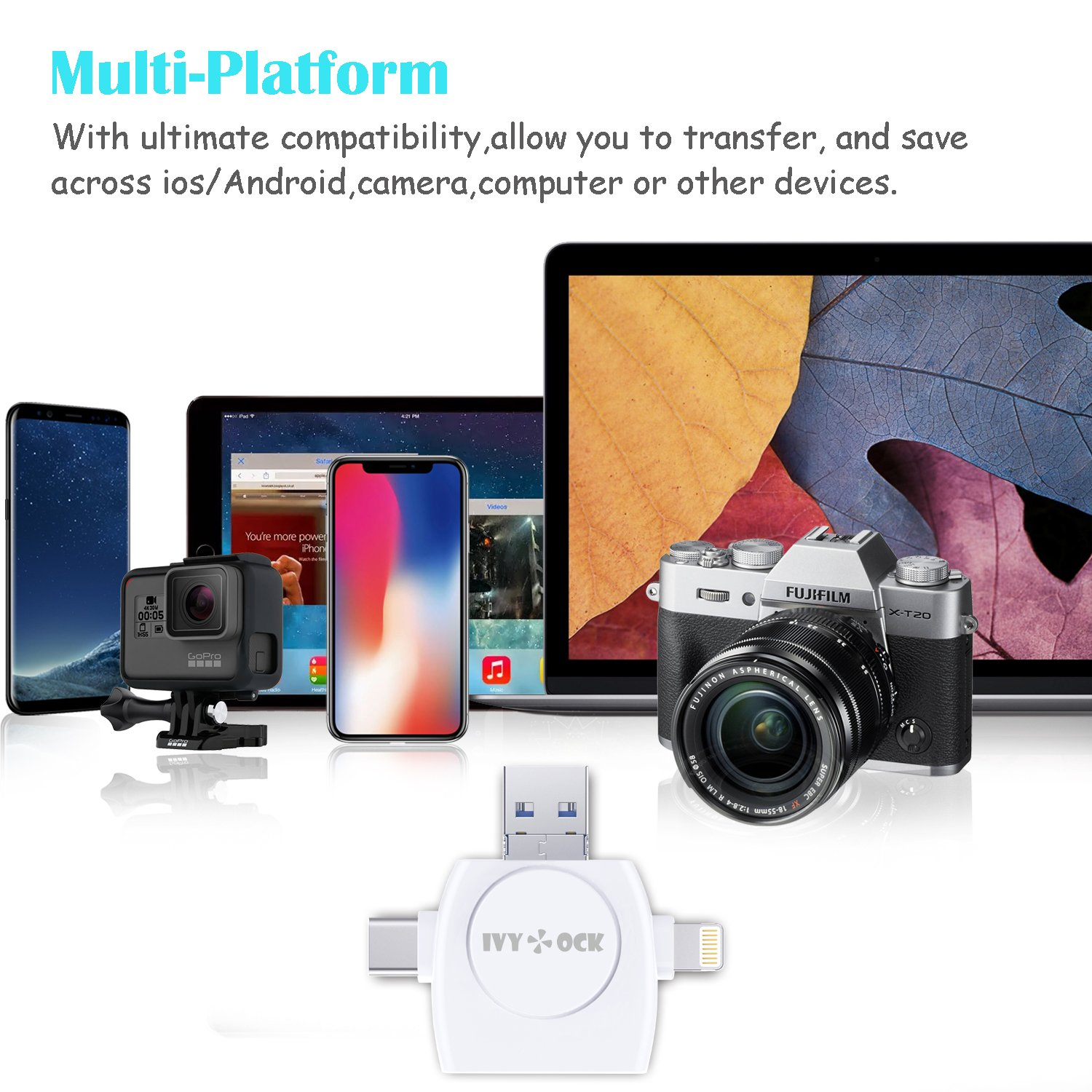 SD & Micro SD Card Reader - Memory Card Camera Reader Adapter for iPhone/iPad/GALAXY S8/Android/Mac/PC/MacBook. With Lightning,Micro USB,USB Type C,USB 3.0 Connector (4 in 1) by IVYOCK (Image #4)