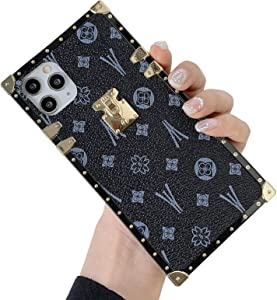 KERZZIL Retro Square iPhone 11 Pro Max Leather Case,Shiny Shockproof Protective Metal Decoration Back Cover Cases Compatible for iPhone 11 ProMax 2019 6.5-inch(Black)