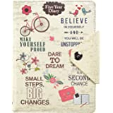 Five 5 Year Undated Diary Organiser A5 Faux Leather With Stud Button Closure, Life inspirational slogans Art Cover By Arpan (Cream)