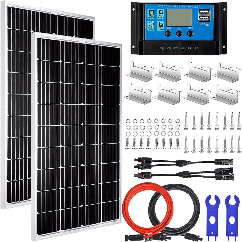 Pikasola 200 Watt 12/24V Solar Panel Kit for RV Boat Home: 2pcs 100W Monocrystalline Solar Panel Grade A + 12/24V Solar Charge Controller + 16ft Solar Cable + Mounting Z-Brackets