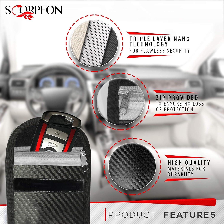 Bloccasegnale Chiave Auto Keyless Scorpeon 2x Custodie bloccasegnale per Chiavi Auto RFID Custodia Faraday per Chiavi Auto Custodia Chiavi RFID Borsa Scatola Gabbia Faraday