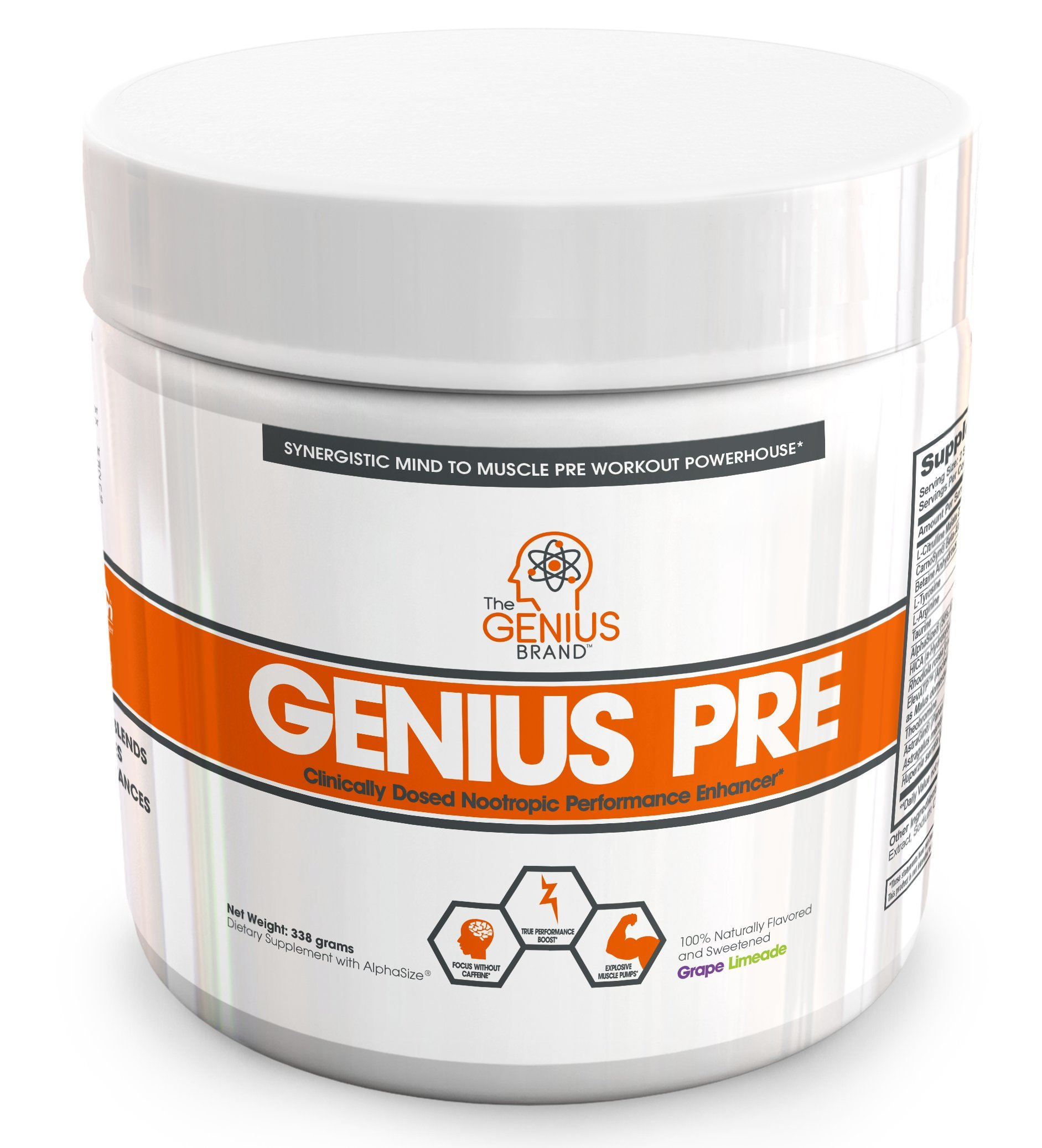 Genius Pre Workout – All Natural Nootropic Preworkout Powder & Caffeine-Free Nitric Oxide Booster with Beta Alanine and Alpha GPC - Focus, Energy and Muscle Building Supplement, Grape Limeade, 354G
