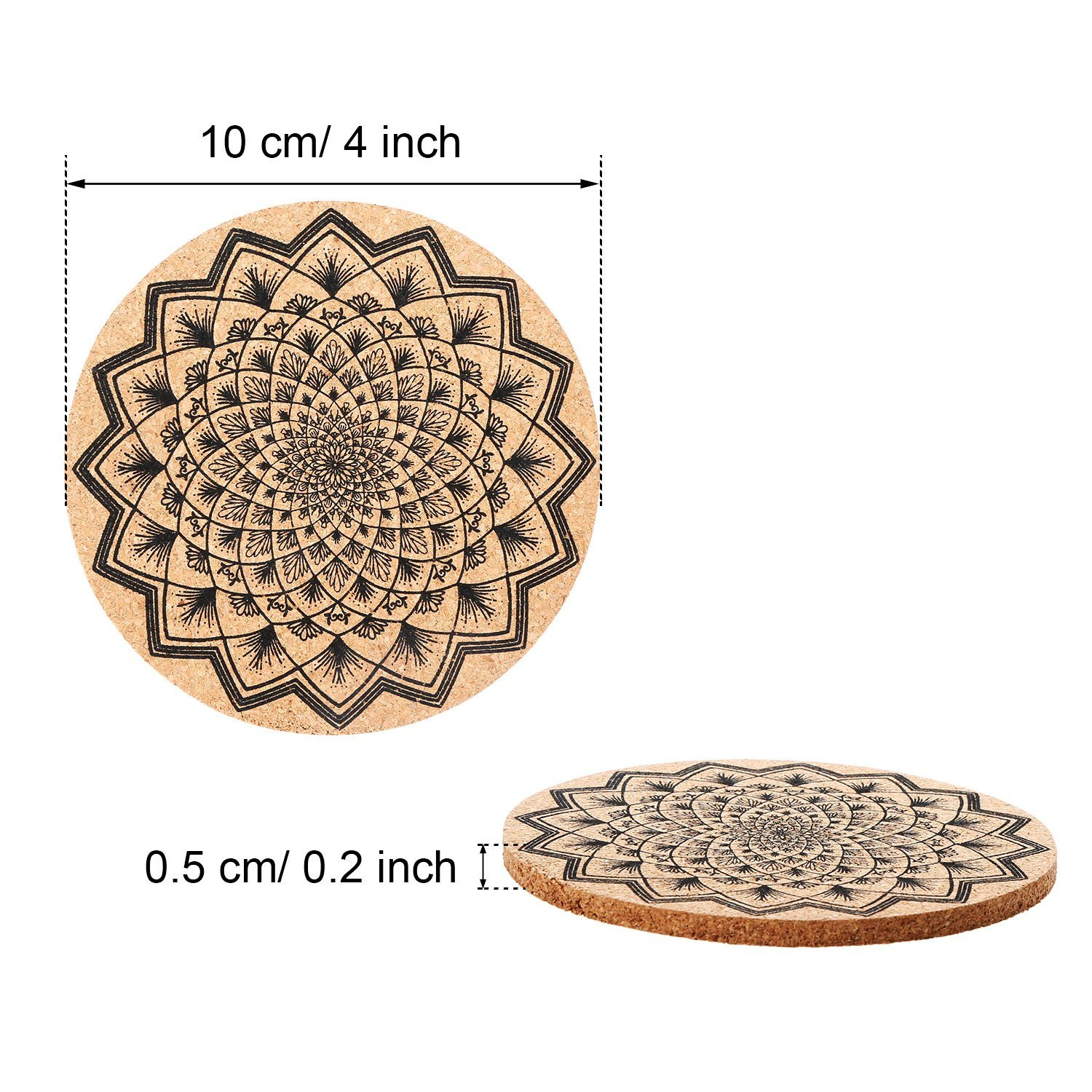 Tatuo 12 Pieces Cork Coasters for Drinks Absorbent Reusable Cup Mat Drink Coaster for Home Restaurant Office and Bar, 4 Inches by Tatuo (Image #2)
