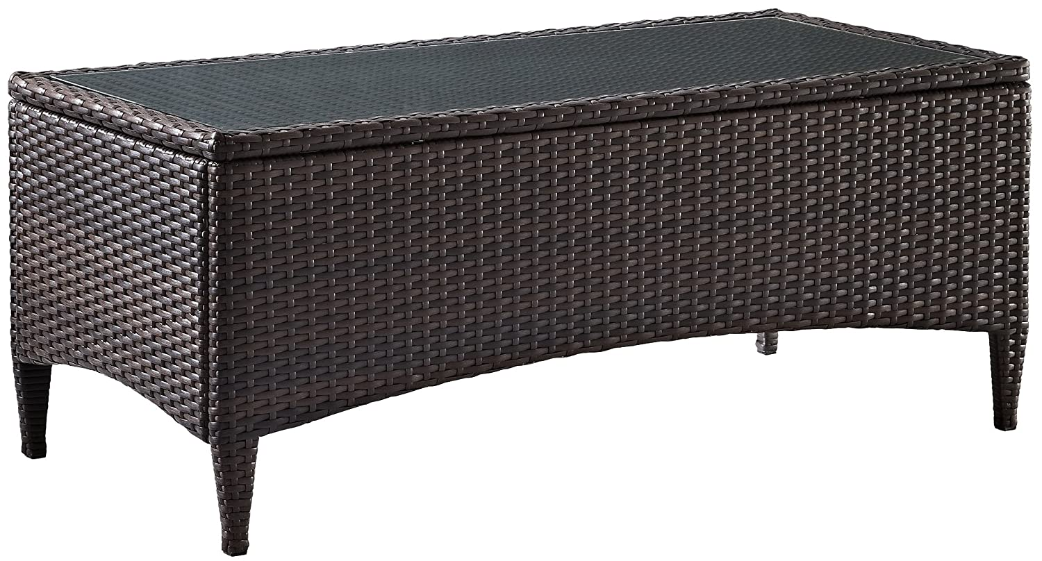 Crosley Furniture Kiawah Outdoor Wicker Table with Glass Top – Brown