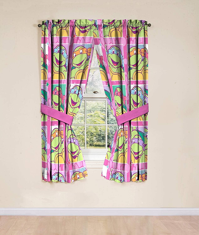 """Kids Warehouse 63"""" Decorative Curtain/Drapes 4-Piece Set (2 Panels, 2 Tiebacks) Teenage Mutant Ninja Turtles Shell Tastic"""