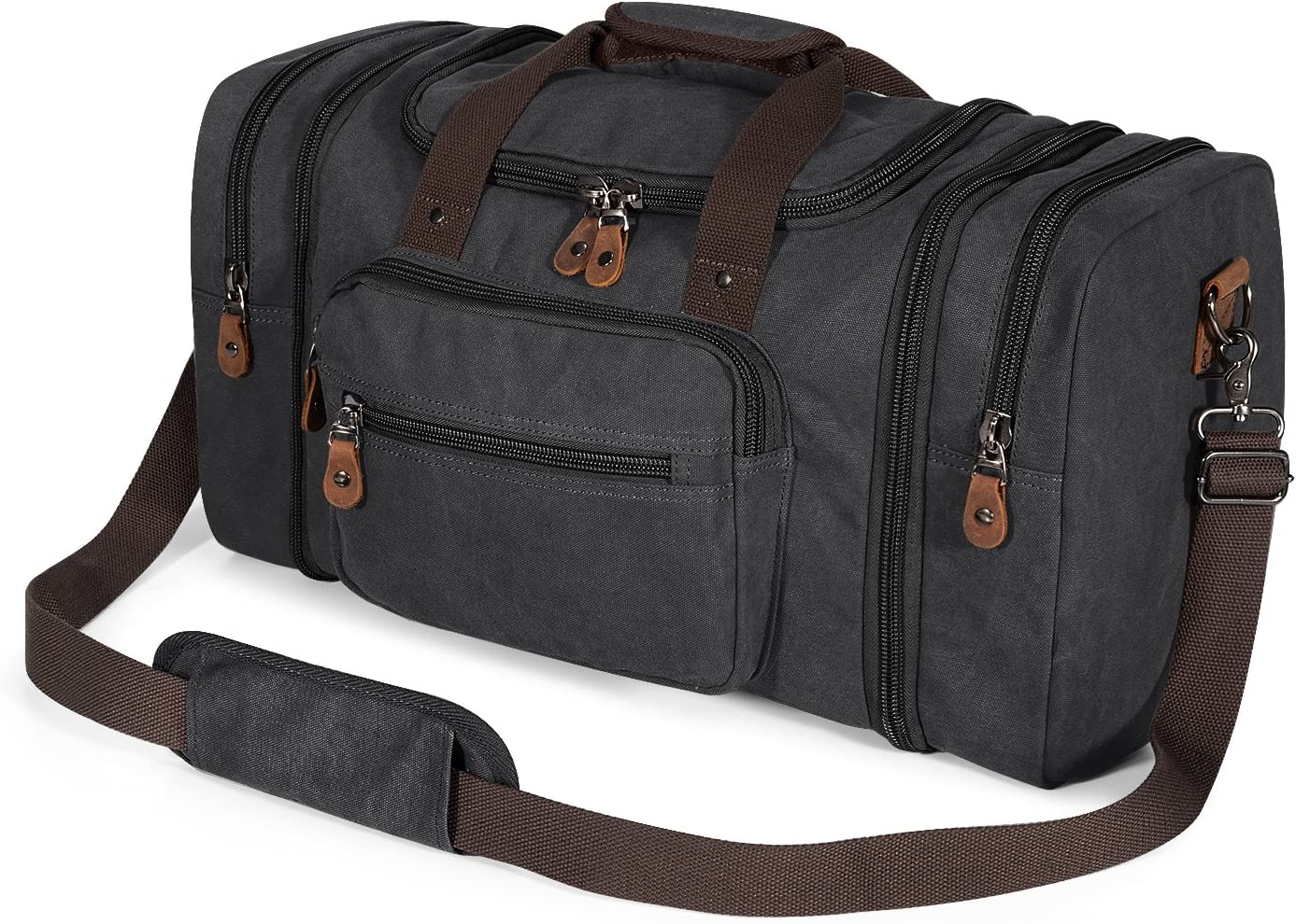 Plambag Canvas Duffle Bag for Travel, Oversized Duffel Overnight Weekend Bag Dark Gray