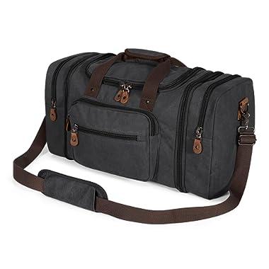 Plambag Unisex's Canvas Duffel Bag 50L Tote Travel Weekend Luggage Gym Bag