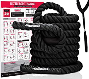 Battle Rope with Foldable Poster and Anchor KIT. Full Body Workout Equipment for Crossfit Training, Home Gym or Fitness Exercise. Poly Dacron Heavy Battling Ropes for Strength