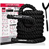 Battle Rope with Foldable Poster and Anchor KIT. Full Body Workout Equipment for Crossfit Training, Home Gym or Fitness Exerc