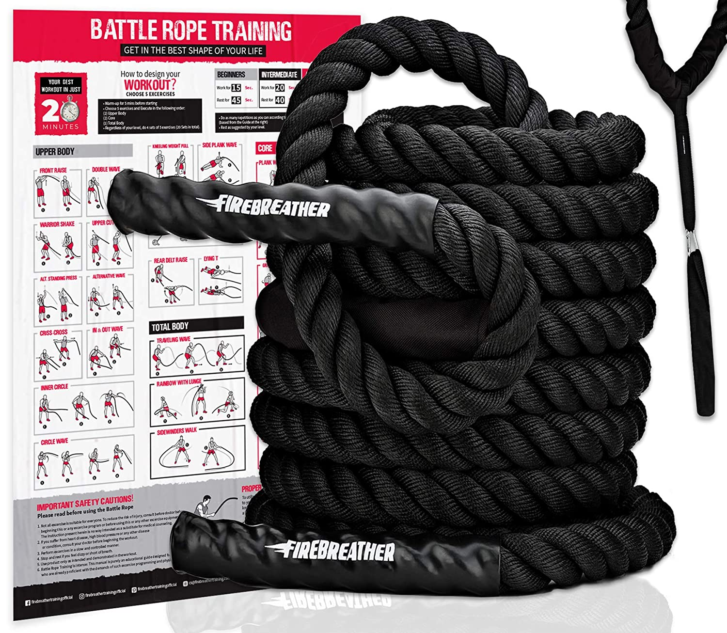 Incredible Firebreather Training Poly Dacron Battling Rope With Protective Sleeve And Handles 50 Feet 1 5 Inch Thick Alphanode Cool Chair Designs And Ideas Alphanodeonline