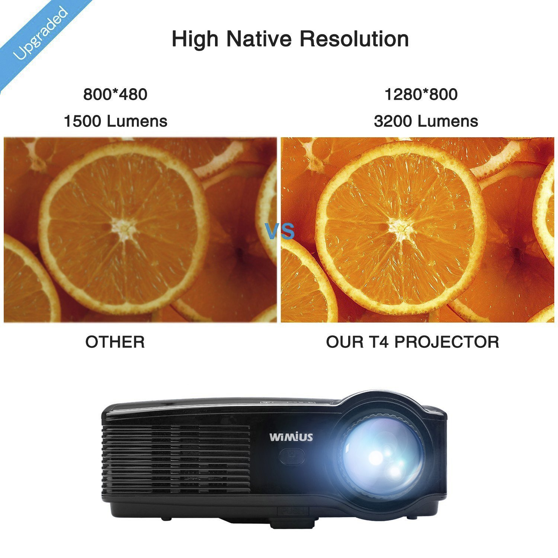 Proyector portátil, WIMIUS T4 3200 lúmenes Proyector de video Full ...