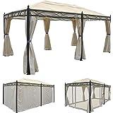 Mendler Pergola Cadiz, Pavillon, Stabiles 7cm-Gestell 5x3m ~ Creme mit Seitenwand + Moskitonetz