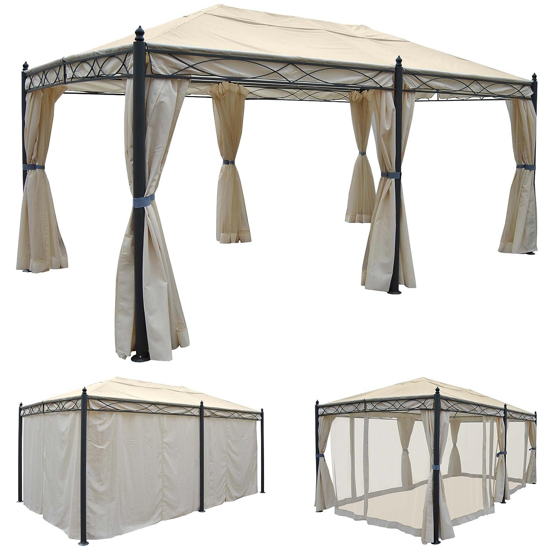 Pergola Cadiz, Pavillon, stabiles 7cm-Gestell 5x3m ~ creme mit Seitenwand + Moskitonetz