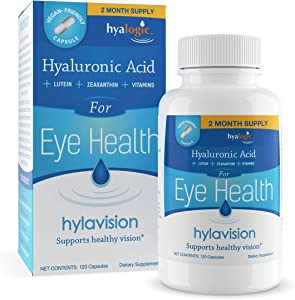 HylaVision Eye Health Supplements: Hyaluronic Acid, Lutein and Zeaxanthin Dietary Supplements for Vision Support (120 Capsules)— Vegan Formula by Hyalogic