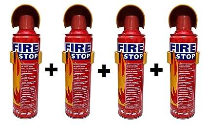 HappeStop Aluminium 500ml Fire Extinguisher Spray - Red (Set of 4 )
