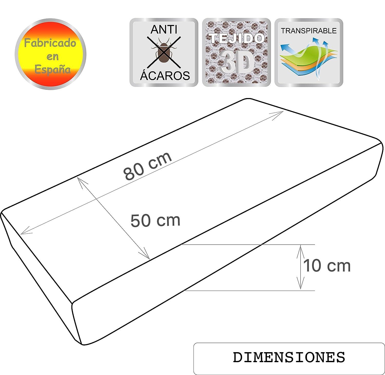 Pekitas interior espuma blanca,Fabricado en Espa/ña Colch/ón minicuna 50 x 75 cm,Funda 3D Erogon/ómico Transpirable Antiahogo con cremallera lavable