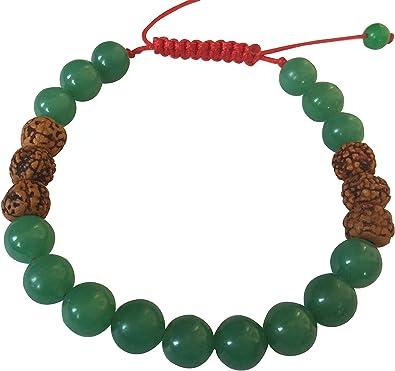 Amazon.com: Mala tibetana Verde Jade y Rudraksha Mala de la ...