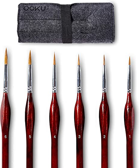 12-Piece Painting Brushes Red Wooden Sticks Painting Tools for Acrylic Painting