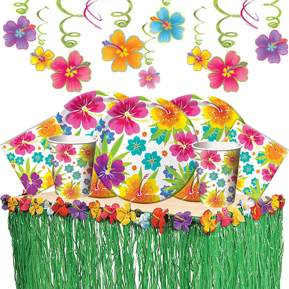 Tropical Luau Hawaiian Summer Party Supply Pack with Decorations for 50 Includes Plates, Napkins, Cups, Table Skirt, and Hibiscus Hanging Swirls