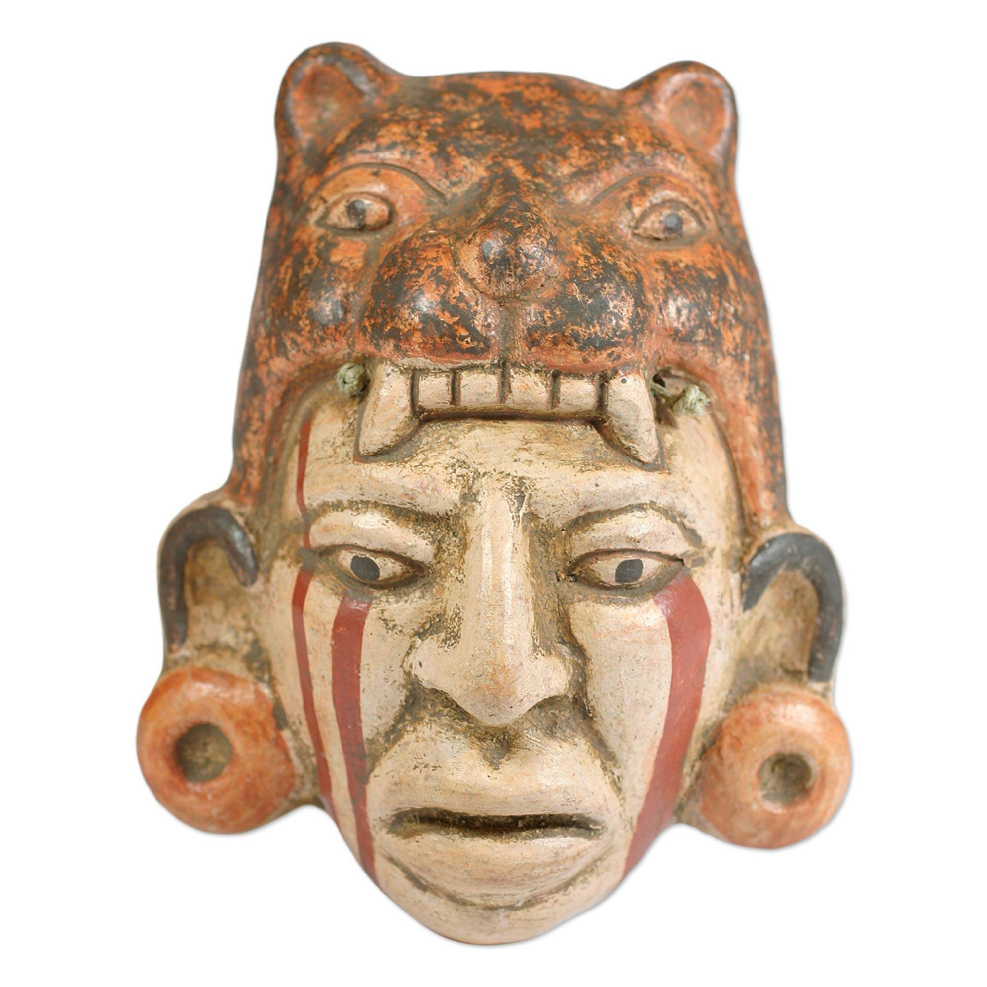 NOVICA Decorative Maya Ceramic Mask, Earthtone, Maya Jaguar Priest'