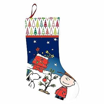 lovely christmas stocking snoopy christmas charlie brown doghouse xmas socks gift bag large christmas candy bag - Snoopy Christmas Stocking