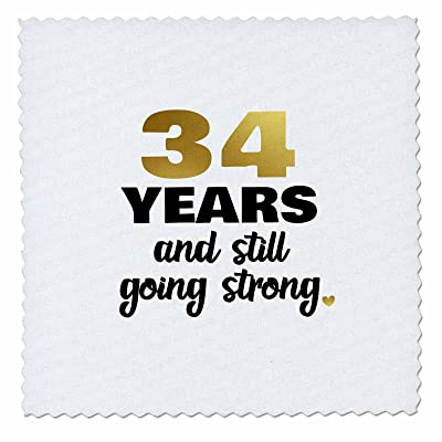 3dRose Janna Salak Designs Anniversary - 34 Year Anniversary Still Going Strong 34th Wedding Anniversary Gift - 16x16 inch quilt square (qs_274377_6)