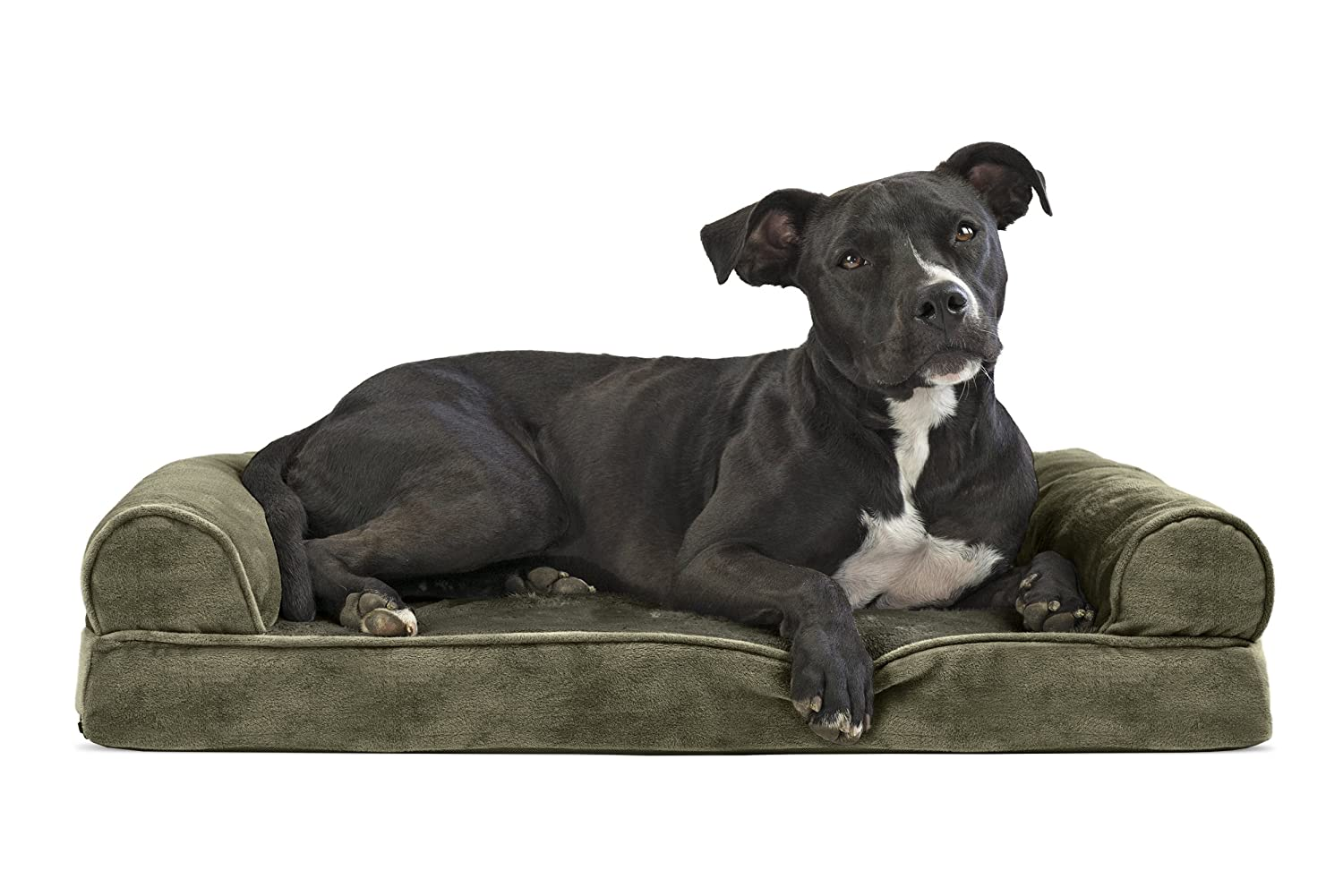 Furhaven Pet Dog Bed   Memory Foam Faux Fur & Velvet Couch Sofa-Style Pet Bed for Dogs & Cats, Dark Sage, Medium
