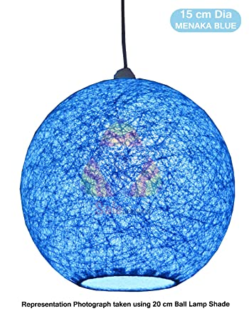 Buy salebrations 15 cm dia menaka blue hanging ball lamp shade salebrations 15 cm dia menaka blue hanging ball lamp shade with yarn and led bulb aloadofball Image collections