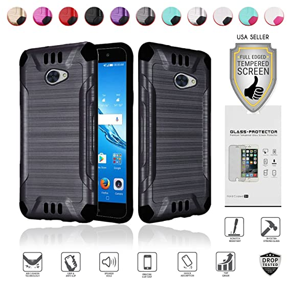 cheap for discount 7a0bc 44372 MYFAVCELL for Huawei Ascend XT2 Case with Full Glass Screen Protector (2nd  Version Only), Elate 4G Case, H1711 Case, Metallic Brushed Design Slim ...