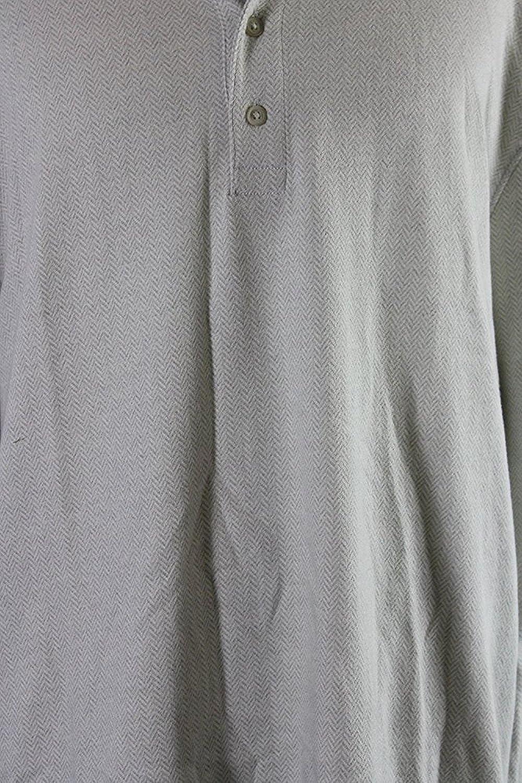 Club Room Mens Herringbone Printed Henley Shirt Ivory 3XL